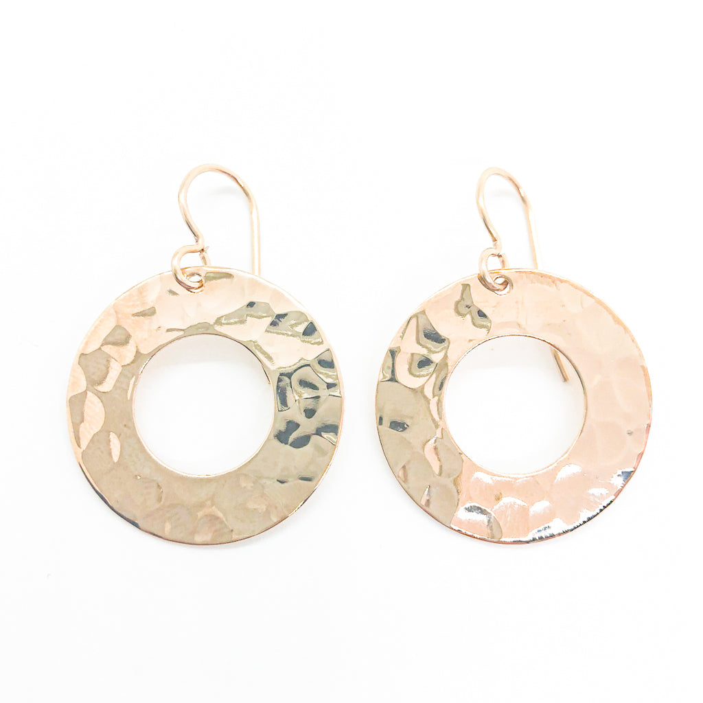 14k Gold Filled Ball Pein Hammered Donut Earrings by Judie Raiford