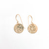 back side with artist signature of 14k Gold Filled ball Pein Hammered Mini Circle Earrings by Judie Raiford