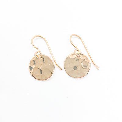 14k Gold Filled ball Pein Hammered Mini Circle Earrings by Judie Raiford