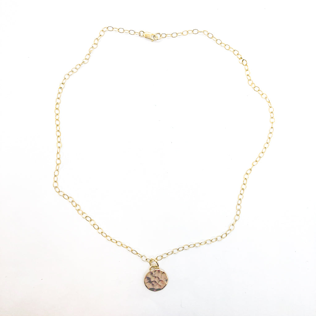 14k Gold Filled Hammered Mini Circle Necklace by Judie Raiford