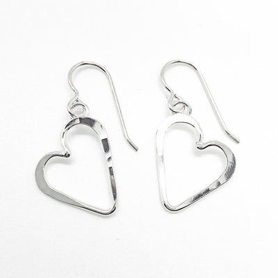 Small Sterling Silver Hammered Open Heart Earrings by Judie Raiford