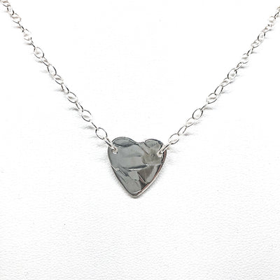 detail view of pendant in sterling silver Stationary Heart Layering Necklace by Judie Raiford