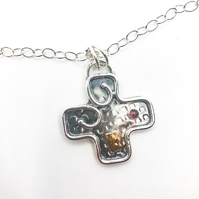 pendant detail view of Big Honker Cross Necklace by Judie Raiford
