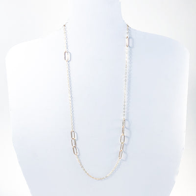 "30"" 14k Gold Filled Ovals Chain by Judie Raiford hanging on mannequin bust"