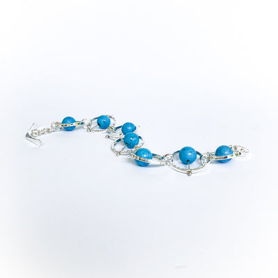 Alternative side angle view of Not Naught Round Sterling Bracelet with Turquoise by Judie Raiford