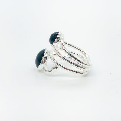 left side view of Sterling Wrap Ring with Black Onyx by Judie Raiford
