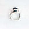 over top view of Sterling Wrap Ring with Black Onyx by Judie Raiford