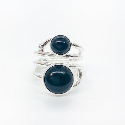 Sterling Wrap Ring with Black Onyx by Judie Raiford