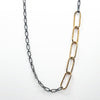 "detail view of 30"" 14k Gold Filled Oval Links on Oxidized Sterling Chain Necklace by Judie Raiford"
