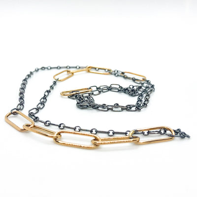 "side angle view of 30"" 14k Gold Filled Oval Links on Oxidized Sterling Chain Necklace by Judie Raiford"