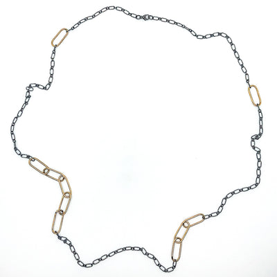 "30"" 14k Gold Filled Oval Links on Oxidized Sterling Chain Necklace by Judie Raiford"