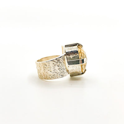 right side view of size 7 Big Honker Lynne Ring with Faceted Citrine by Judie Raiford