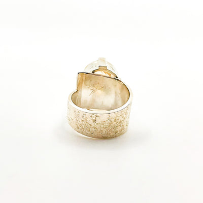 back side view of size 7 Big Honker Lynne Ring with Faceted Citrine by Judie Raiford