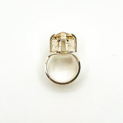 over top view of size 7 Big Honker Lynne Ring with Faceted Citrine by Judie Raiford