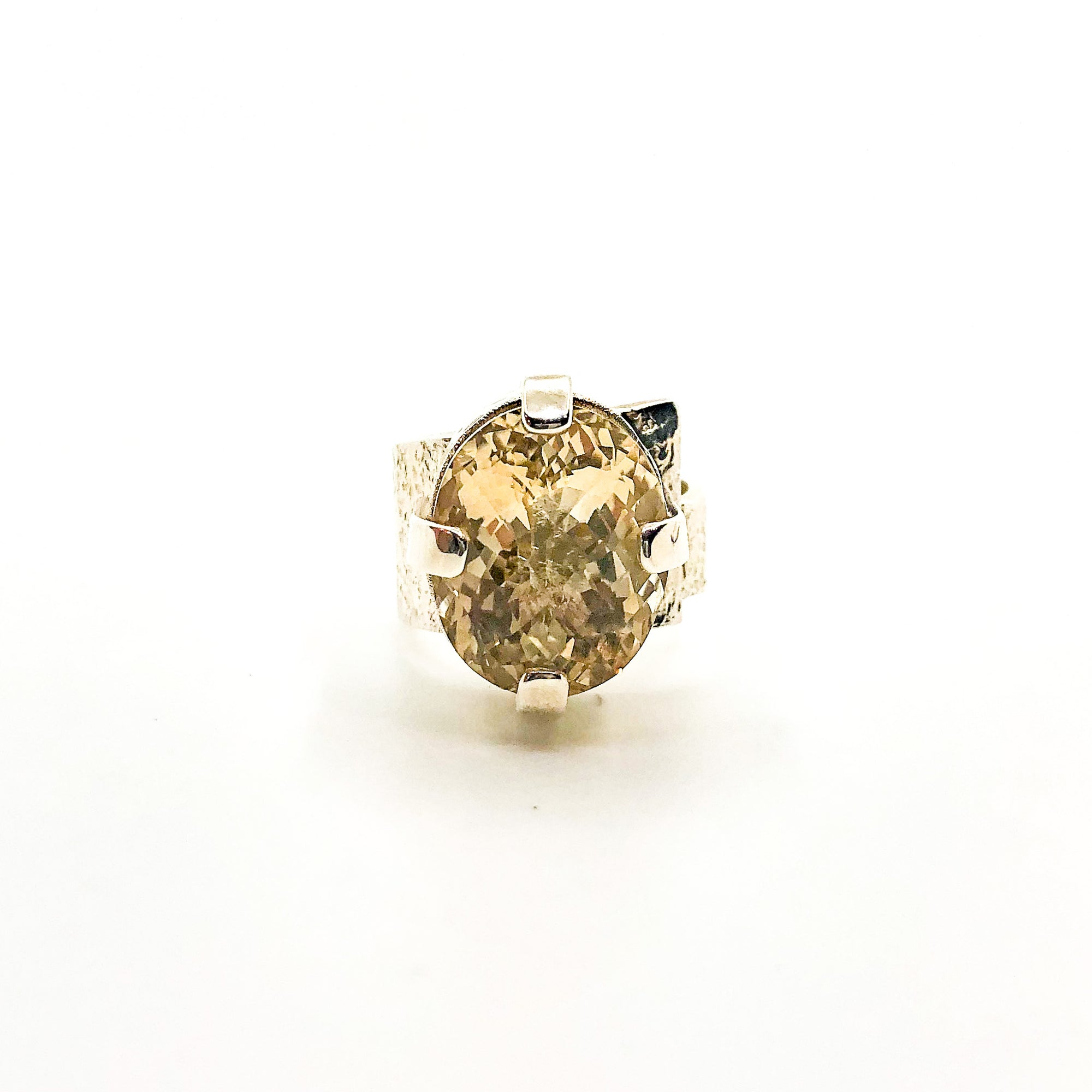 size 7 Big Honker Lynne Ring with Faceted Citrine by Judie Raiford