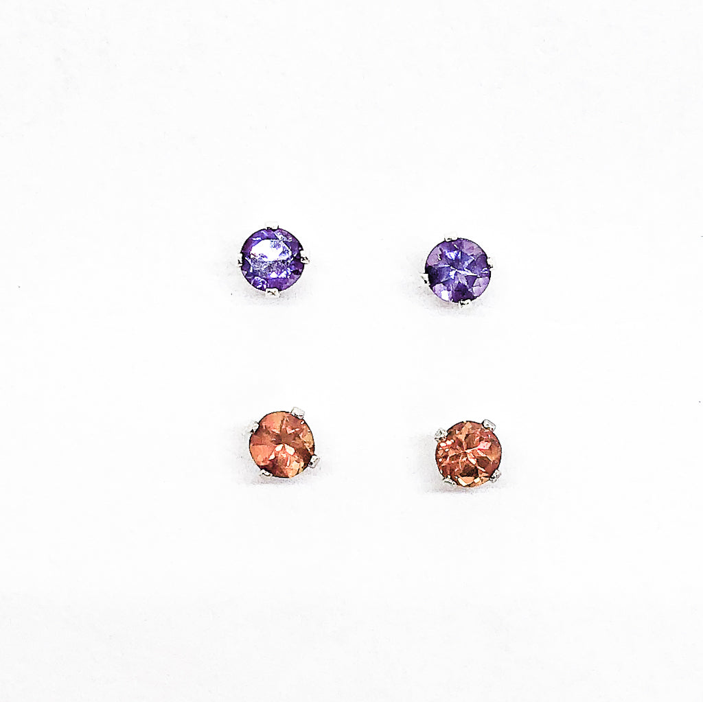 5mm Amethyst and Citrine Gemstone Stud Earrings by Judie Raiford
