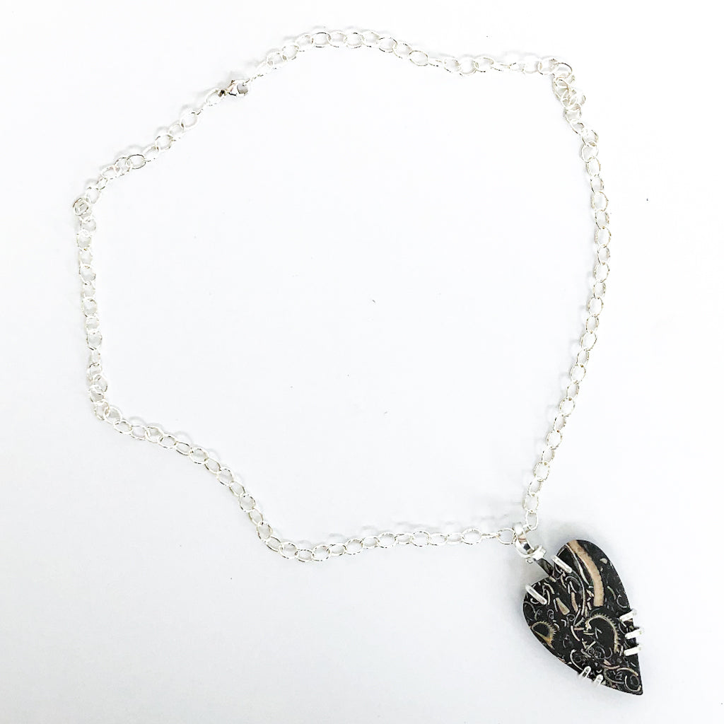 Sterling Fossil Heart Necklace by Judie Raiford