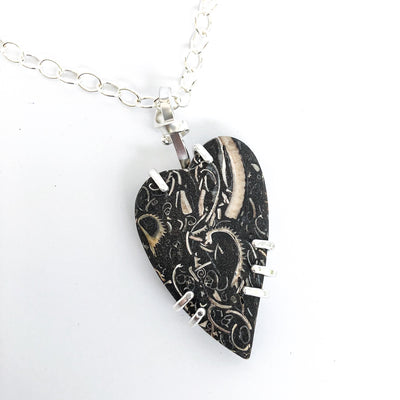 Sterling Fossil Heart Necklace