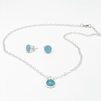 Aquamarine Cabochon Stud Earrings and Necklace by Judie Raiford