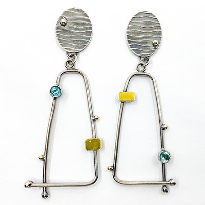 Sterling, 22k, 14k Four Score Earrings with Apatite by Judie Raiford