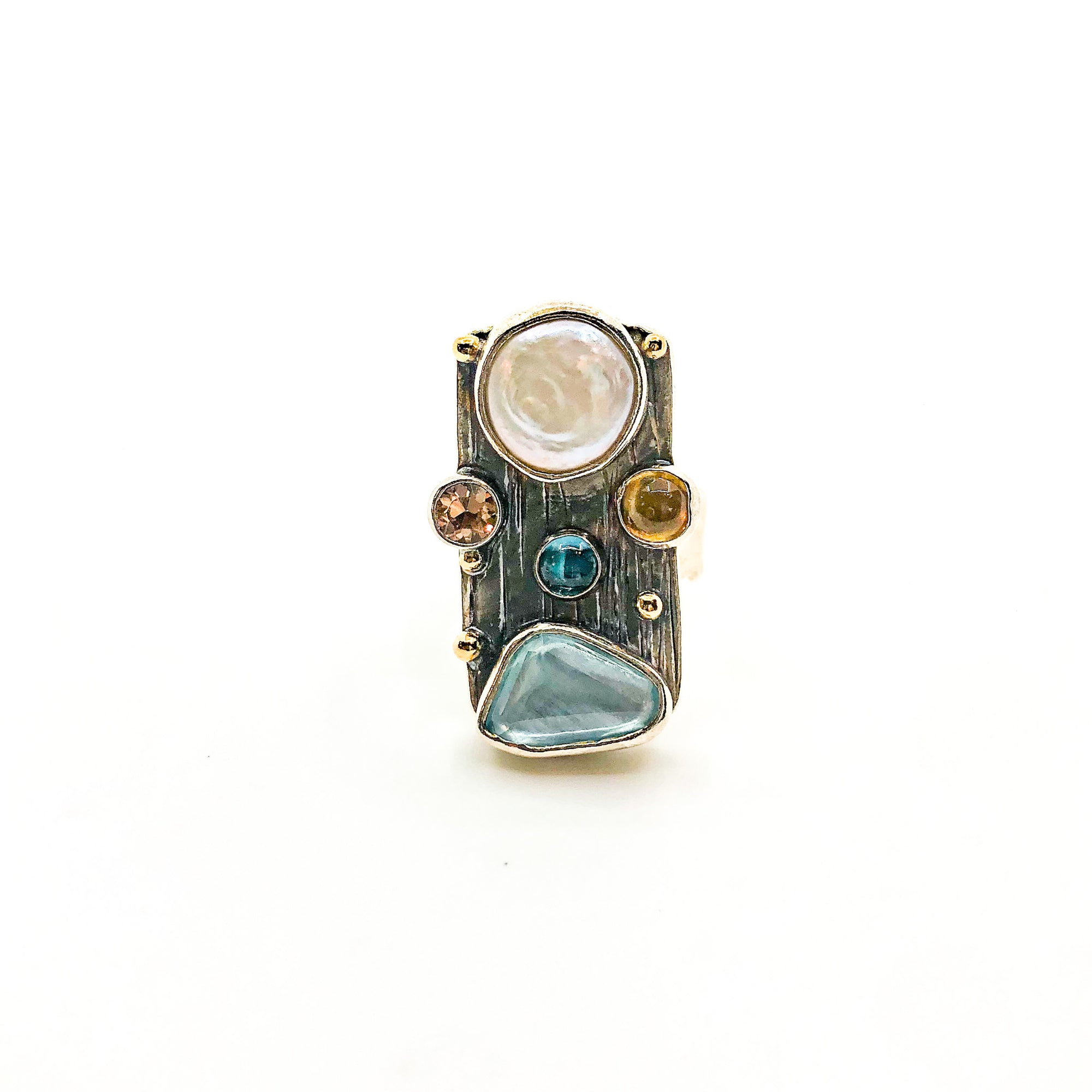size 6.5 Sterling and 14k Silver Platter Ring with Rose Cut Aquamarine, Coin Pearl, Blue Topaz, Citrine, and Topaz by Judie Raiford
