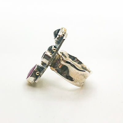 left side view of Silver Platter Ring with 14k, Ruby, Garnet and Zircon by Judie Raiford