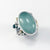 Sterling and 24k Gold Ring with Aquamarine, Blue Topaz and deckled edge