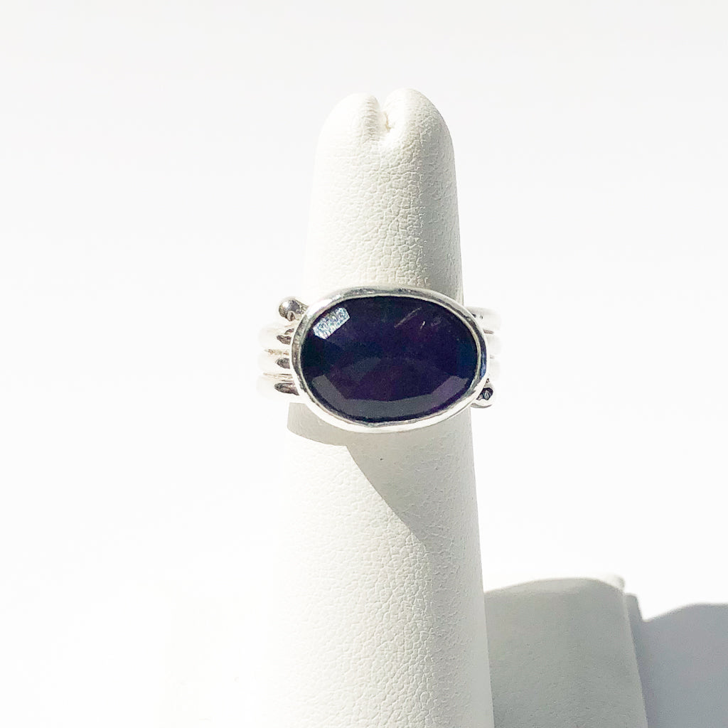 Sterling Solid Wrap Ring with Rose cut Dark Amethyst