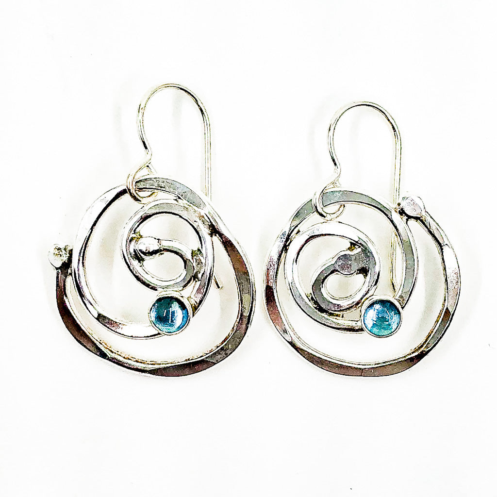 Sterling Mini Spiral Earrings with Blue Topaz by Judie Raiford