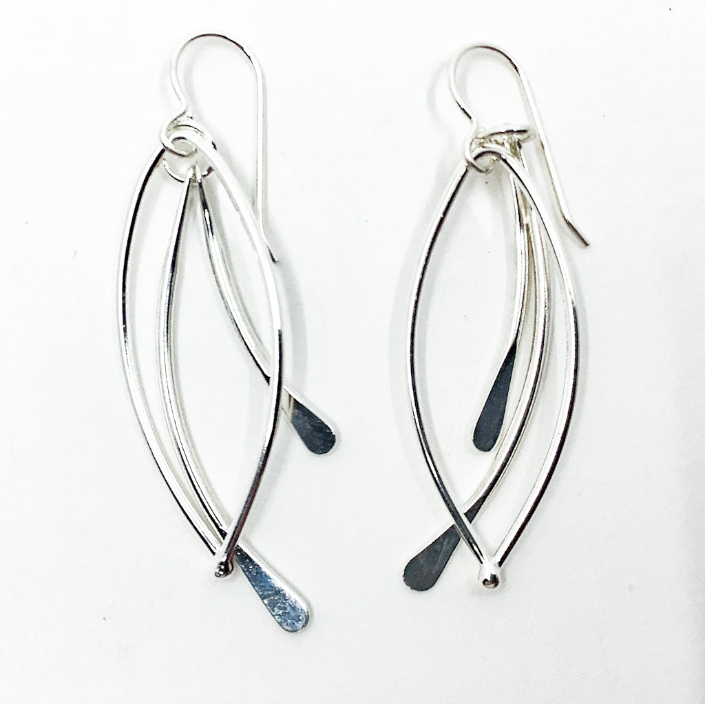 Sterling Paddle Bag Earrings by Judie Raiford