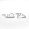 side angle view of Sterling Silver Small Curly Jane Heart Textured Earrings by Judie Raiford