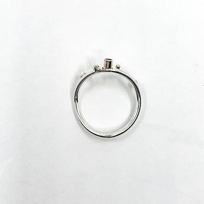 over top view of Sterling & 14k Sweet Nothing Ring with Blue Sapphire by Judie Raiford