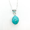 detail view of sterling silver Big Juicy Stone Necklace with Turquoise by Judie Raiford
