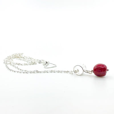 side angle view of sterling silver Big Juicy Stone Necklace with Red Coral by Judie Raiford