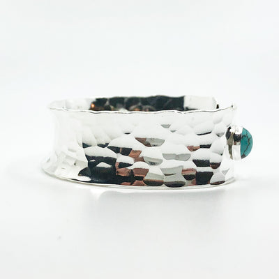 left side view of Sterling Anticlastic Cuff with Turquoise by Judie Raiford