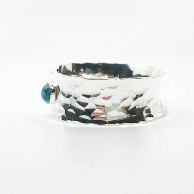 right side view of Sterling Anticlastic Cuff with Turquoise by Judie Raiford