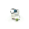 size 6.75 Sterling Wrap Ring with London Blue Topaz, Moonstone, and Peridot by Judie Raiford