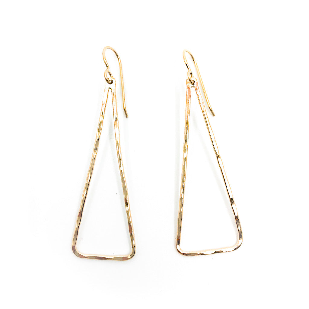 Gold Filled Hammered Triangle Earrings by Judie Raiford