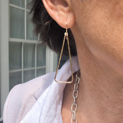 Gold Filled Hammered Triangle Earrings by Judie Raiford worn by model