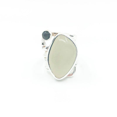 Sterling Wrap Ring with Moonstone and Black Onyx