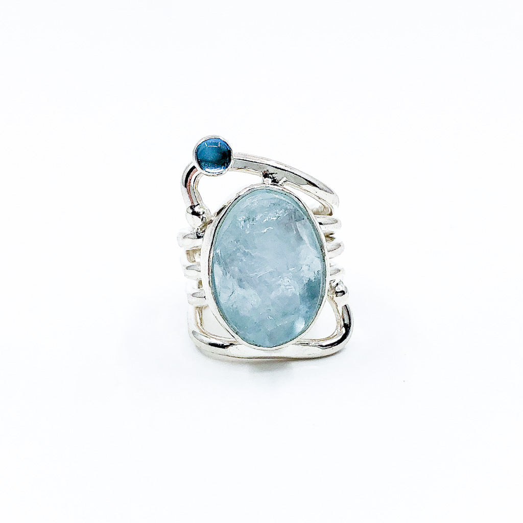 size 6 Sterling Wrap Ring with Aquamarine and Blue Topaz by Judie Raiford