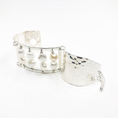 side angle view of Sterling Sue Pearl Bracelet by Judie Raiford