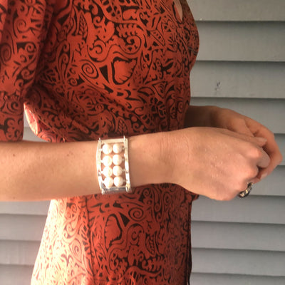 Sterling Sue Pearl Bracelet by Judie Raiford worn on model
