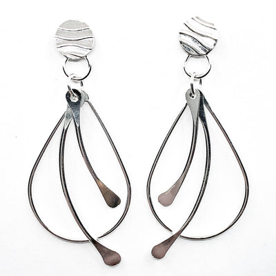 Sterling Fat Bottomed Girl Earrings with Paddles and Posts by Judie Raiford