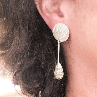 Sterling Fat Bottomed Girl Earrings with Stick by Judie Raiford worn on model