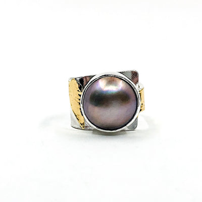 size 9.5 Sterling & 24k Crotch Hugger Ring with Gray Pink Mabe Pearl by Judie Raiford