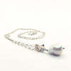 side angle view of White Baroque Pearl on Sterling Long Short Chain by Judie Raiford