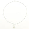 White Baroque Pearl on Sterling Long Short Chain by Judie Raiford