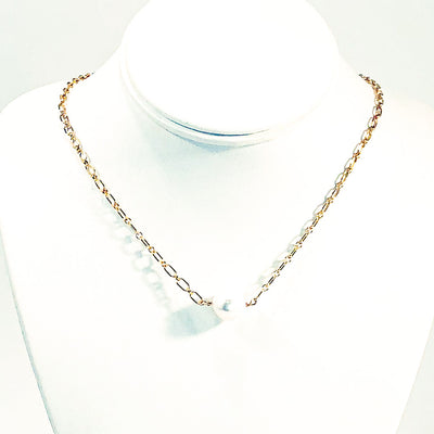Single White Pearl on 14k Gold Filled Long Short Chain by Judie Raiford on white mannequin display bust
