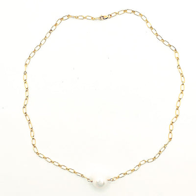 Single White Pearl on 14k Gold Filled Long Short Chain by Judie Raiford